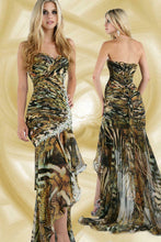 Load image into Gallery viewer, Xcite Printed Chiffon Prom Dress 32277 Leopard