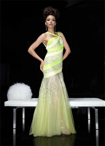 Xcite Two Tone Neon Prom Dress 3773 Yellow/Cypress