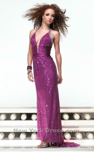Alyce Paris Sequin Halter Prom Dress 6310 Magenta