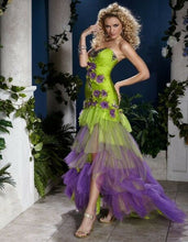Load image into Gallery viewer, Panoply Ruffle Layered Prom Grad Dress 14400 Lime/Purple
