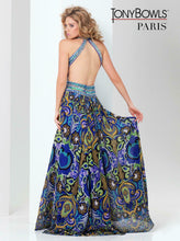 Load image into Gallery viewer, Tony Bowls Paris Print Chiffon Prom Dress 115750 Royal/Multi