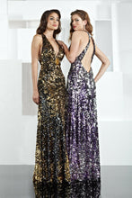 Load image into Gallery viewer, Xcite Sequin Low Back Prom Dress 30134 Purple/Silver