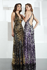 Xcite Sequin Low Back Prom Dress 30134 Purple/Silver