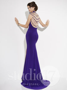 Studio 17 Jersey Backless Prom Dress 12552 Emerald