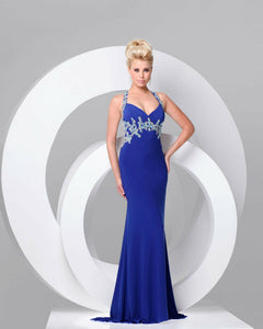 Tony Bowls Le Gala Jersey Stretch Prom Dress 115745 Navy