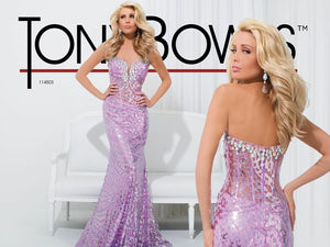 Tony Bowls Sequin Prom Dress 114503 Light Purple