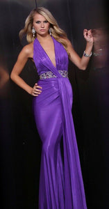 Xcite Grad Halter Prom Dress 30337 Purple