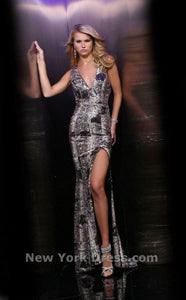 Xcite Sequin Prom Dress 30324 Snakeskin