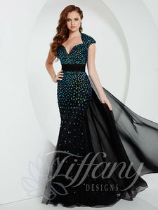Tiffany Designs Rhinestone Prom Dress 16151 Black/Teal