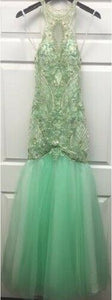 Lucci Lu Beaded Tulle Grad Prom Dress 2100 Pistachio