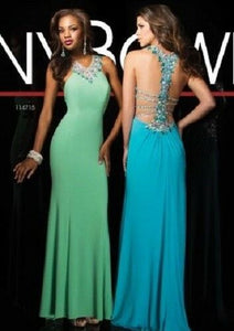 Tony Bowls Jersey Low Back Prom Dress 114715 Turquoise