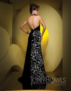 Tony Bowls Grad Animal Print Prom Dress 111520 Black/White