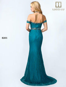 Lucci Lu Lace Cold Shoulder Grad Prom Dress 8201 Teal