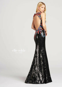 Ellie Wilde Grad Prom Dress EW118026 Black/Multi