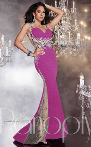 Panoply Jersey Beaded Grad Prom Dress 14774 Purple Multi