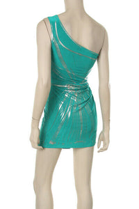 SEXY TEAL/SILVER FOIL ONE SHOULDER TUNIC TOP/DRESS - NWT