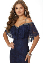 Load image into Gallery viewer, Morilee Boho Lace Grad Prom Dress 42037 Navy