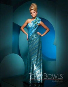 Tony Bowls Paris Sequin One Shoulder Prom Dress 111749 Turquoise