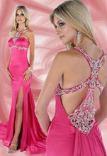 Load image into Gallery viewer, Xcite Fancy Back Satin Grad Prom Dress 32283 Fuchsia
