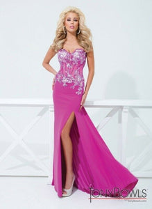 Tony Bowls Paris Sheer Bodice Prom Dress 114736 Fuchsia