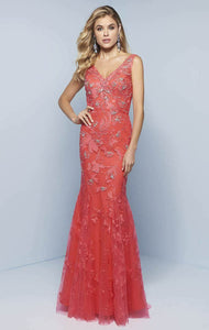 Splash Lace Fit & Flare Prom Dress J785 Watermelon