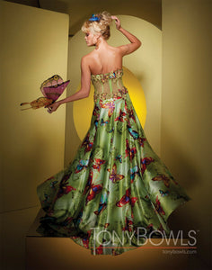 Tony Bowls Prom Dress Lime/Multi Butterfly Print 111508