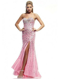 Riva Designs Strapless Rhinestone Grad Prom Dress 9764 Pink