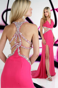 Xcite Rhinestone Open Back Prom Dress 32220 Fuchsia