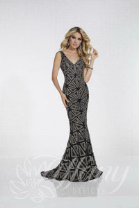 Tiffany Designs Rhinestone Jersey Prom Dress 16262 Black/Gold