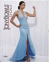 Load image into Gallery viewer, Tony Bowls Le Gala Beaded Halter Prom Dress 19530 Turquoise