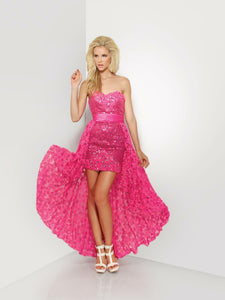 Riva Designs Short Dress with Overskirt Prom Dress R9632 Hot Pink