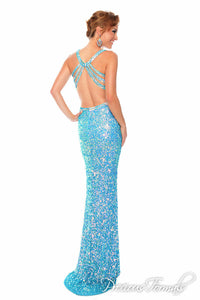 Precious Formals Sequin Low Back Prom Dress P9105 Crystal Turquoise