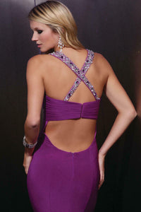 Xcite Jersey Low Back Prom Dress 30336 Purple