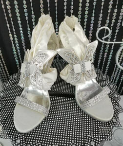 Butterfly Bridal Wedding High Heels - Ivory/Silver