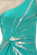 Load image into Gallery viewer, SEXY TEAL/SILVER FOIL ONE SHOULDER TUNIC TOP/DRESS - NWT