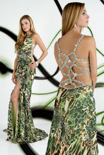 Load image into Gallery viewer, Xcite Chiffon Print Prom Dress 32216 Green Multi