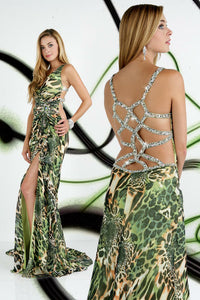 Xcite Chiffon Print Prom Dress 32216 Green Multi