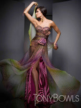 Load image into Gallery viewer, Tony Bowls Evenings Chiffon Print Prom Dress TBE21033 Purple/Multi
