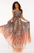 Load image into Gallery viewer, Paris Leopard Print Prom Grad Dress Orange/Multi