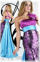 Load image into Gallery viewer, Xcite Grad Sequin One Shoulder Prom Dress 30217 Purple/Turquoise