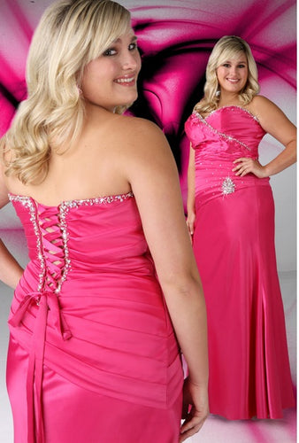 Xcite Satin Sheath Dress Corset Back 35067 Fuchsia