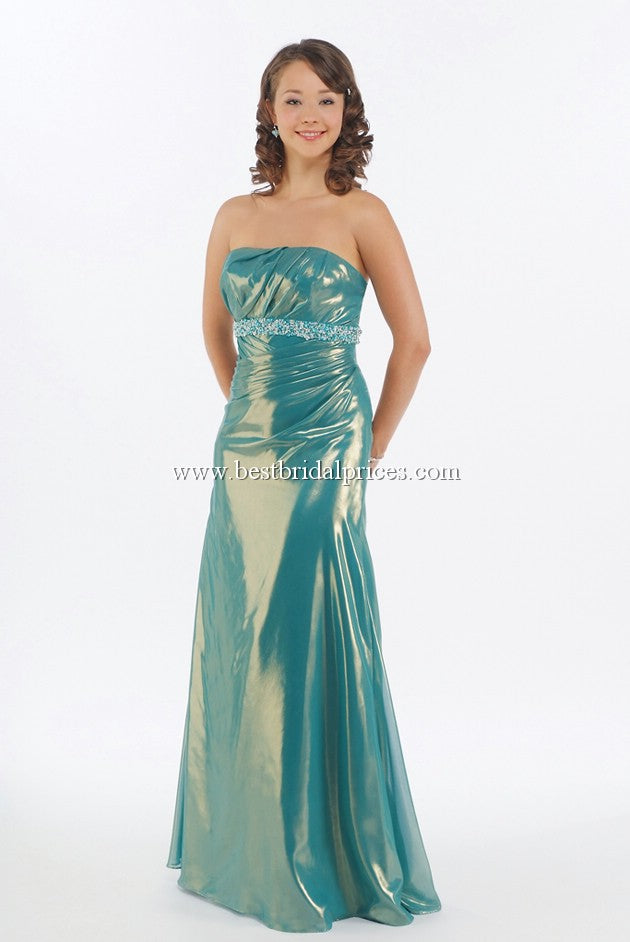 Mystique Metallic Lame Strapless Dress 3907 Peacock