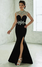 Load image into Gallery viewer, Tiffany Designs Jersey Rhinestone Grad Gown 46039 Majestic Purple