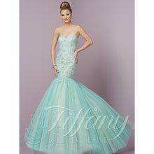Load image into Gallery viewer, Tiffany Designs Tulle Mermaid Gown 46088 Aqua/Nude