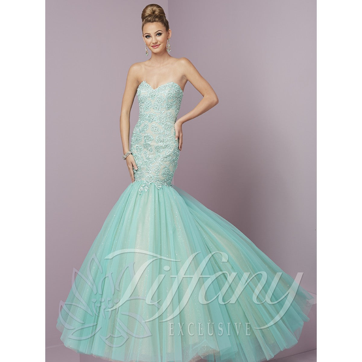 Tiffany Designs Tulle Mermaid Gown 46088 Aqua/Nude