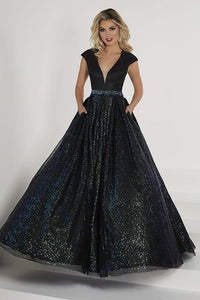 Tiffany Designs Sequin Ballgown with Pockets 46188 Black/Emerald