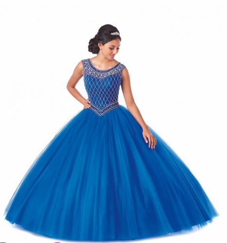 Bonny Bloom Beaded Tulle Ballgown Quinceañera Royal/Gold 5701