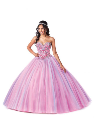 Bonny Bloom Corset Beaded Tulle Ballgown Quinceañera 5708 Pink/Purple/Blue