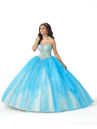 Bonny Bloom Two Tone Tulle Ballgown Quinceañera 5732 Blue/Champagne