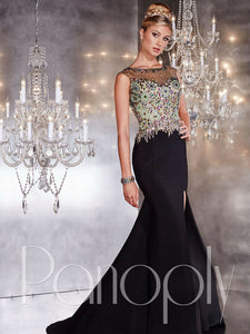 Panoply Rhinestone Fit and Flare Prom Dress 14734 Carnival